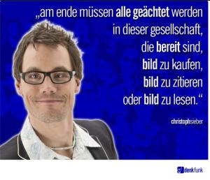 SaSe38: Der Niedergang des Kabaretts: Christoph Sieber ruft bei Denkfunk zur Ächtung von Menschen auf; Bildunterschrift: Ausschnitt aus Bildzitat Screenshot Facebook Denkfunk