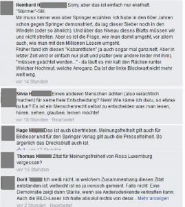 Diverse Posting als Collage zu einem Aufruf von Christoph Sieber auf Facebook Denkfunk am 20.08.2015 (Zur besseren Lesbarkeit Bild anklicken!)