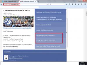 Bildzitat Screenshot des auf dem Facebook-Account von Denkfunk gesetzten Links zu mahnwachen.info mit sofortiger Werbung für Querfrontler à la Lars Mährholz und Ken Jebsen.