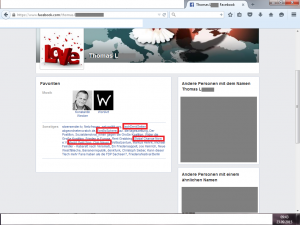 "Bildzitat Screenshot Facebook Thomas L., der angegebene Betreiber des Facebook-Accounts ""Die Anstalt"" Fanclub."