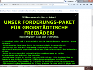 Ausschnitt aus Bildzitat Screenshot Facebook Deutsche Salongutmenschen Union