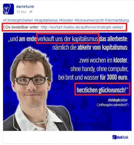 Ausschnitt aus Bildzitat Screenshot Facebook Denkfunk 02.10.15: Christoph Sieber möchte auch (nur?) verkaufen!
