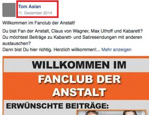 """Ausschnitt aus Bildzitat Screenshot Facebook """"Fanclub der Anstalt"""""""