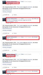 """Collage diverser Ausschnitte aus Bildzitat Screenshots wie ein Denkfunk-Redakteur unter dem Fake-Account """"Gabriel Rothschild"""" auf diversen Facebook-Accounts Denkfunk-Vidoes bewirbt!"""