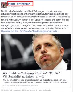 Ausschnitt aus Bildzitat Screenshot Facebook Pegida Baden-Württemberg