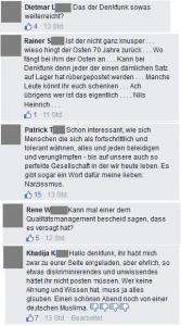 Collage kritischer Posts von Facebook Denkfunk Thread Nils Heinrich 31.10.2015