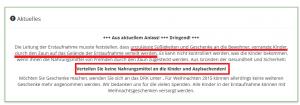 Ausschnitt aus Bildzitat Screenshot Asylnetz Sigmaringen