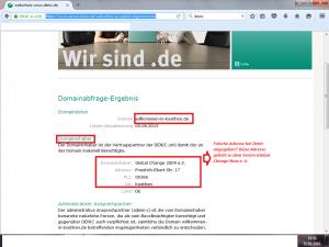 """Bildzitat Screenshot Auskunft Denic zur Webseite der Flüchtlingshilfe-Initiative """"Willkommen in Köthen"""""""