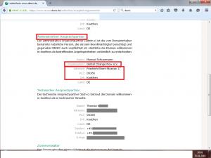 """Bildzitat Screenshot, anonymisiert, Auskunft Denic zur Webseite der Flüchtlingshilfe-Initiative """"Willkommen in Köthen"""""""