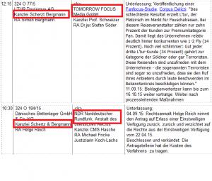 """Collage aus Ausschnitten Bildzitat Screenshot Buskeismus """"Terminrollen Pressekammer Zensurkammer Landgericht Hamburg 3. Quartal 2015"""""""