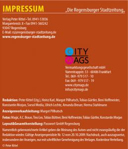Ausschnitt aus Bildzitat Screenshot Regensburger Stadtzeitung Ausgabe Juni 2016 Impressum