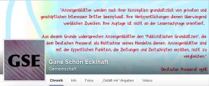 Ausschnitt aus Bildzitat Screenshot der Kopfgrafik des Facebook-Accounts Gans schön Ecklhaft