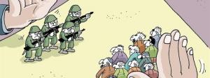 """Sinnpralles Cover des nicht ausgelieferten türkischen Satire-Magazins LeMan; abgenommen bei: Spiegel online. Militär und """"Volk"""" werden wie auf einem schachbrett hin und her geschoben."""