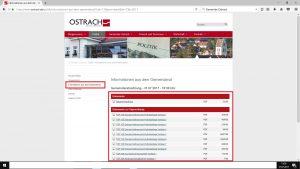 Bearbeiteter (rote Kästen) Screenshot am 27. Juli 2017 der Gemeindeverwaltung Ostrach
