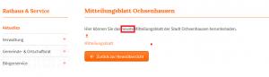 Jeweils nur das aktuelle Amtsblatt online vorzuhalten ist auch nicht gerade ein Nachweis von Transparenz. Ausschnitt aus Bildzitat Screenshot von www.ochsenhausen.de.