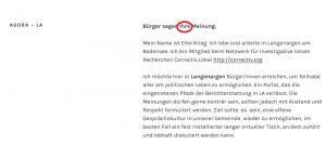 """Ausschnitt aus (bearbeitetem) Screenshot der Startseite des neuen Blogs in Langenargen AGORA-LA: Überschriften haben keinen Punkt und der orthografische Klassiker in derselben widerspricht dem bildungsbürgerlichen Anspruch des Blognamens. URLs haben im Fließtext nichts zu suchen, sondern werden mit dem Begriff verlinkt. Und warum der """"virtuelle Tisch"""" lang sein muss, erschließt sich mir nicht. Vielleicht wegen LANGENargen? Auch das eine oder andere Partizip Perfekt verdient noch etwas Aufmerksamkeit."""