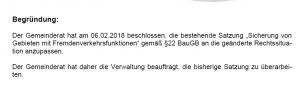 Bildzitat Screenshot aus der Sitzungsvorlage der Gemeinde Uhldingen-Mühlhofen für den 21. Mai 2019. Hier behauptet die Verwaltung, am 06.02.2018 sei beschlossen worden, die bestehende Satzung anzupassen. Der SPD-Gemeinderats- und Kreistagskandidat Domenico Ferraro widerspricht dieser Behauptung. Nach seinen Angaben habe der Gemeinderat in der nichtöffentlichen Sitzung exakt das Gegenteil beschlossen. Eines ist klar: Einer von beiden lügt!