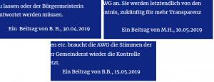 Montage einiger Bildzitate Screenshot von der Homepage der Aktiven Wählergemeinschaft Uhldingen-Mühlhofen AWG. Eine zentrale politische AWG-Forderung ist die nach Transparenz. Leider zeigt sich die AWG selbst bisher nicht transparent. Wenn einzelne Textbeiträge als Autorennachweis nur Initialen angeben, ist der Verfasser nicht erkennbar.