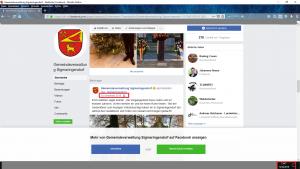 """Bildzitat (bearbeiteter) Screenshot Facebook-Account """"Gemeindeverwaltung Sigmaringendorf"""": Am 13. Juni 2019 stammt der neueste Eintrag vom 18. Dezember 2018."""
