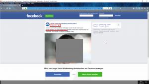 Bildzitat (bearbeiteter) Screenshot Facebook-Account Junge Union Württemberg-Hohenzollern. Der Account war ein weiterer Suchmaschinen-Treffer auf der verzweifelten Suche nach dem FB-Konto, über das dieser Bürgermeister angeblich Transparenz für seine Arbeit herstellt. (Das Foto wurde zum Schutz der Bildrechte unkenntlich gemacht.)