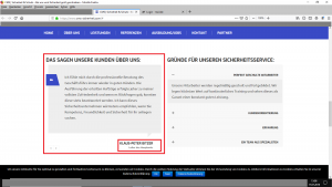"""Bildzitat Screenshot (bearbeitet mit Markierungen von K. B.) der Firmen-Webseite CMS-Sicherheit am 17. Juli 2019. Diese """"Kundenempfehlung"""" ist inzwischen und NACH meinen diversen Presseanfragen nicht mehr auf der Webseite des Unternehmens zu finden."""