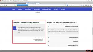 Bildzitat (mit Markierungen bearbeiteter) Screenshot der Firmen-Webseite CMS-Standard am 26.07.2019. Mehr als 24 Stunden zuvor hatte mir das Unternehmen in einer Presseauskunft versichert, ALLE Kundenreferenzen von ihrer Firmenseite gelöscht zu haben.