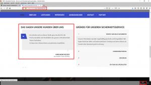Bildzitat (mit Markierung bearbeiteter) Screenshot der Firmen-Webseite CMS-Sicherheit: Erst erfunden, dann verschwunden. Dieser Screen wurde am 22.07.2019 gefertig. Nachdem der Schwindel aufgeflogen ist, hat CMS-Sicherheit auch diesen Eintrag entfernt.
