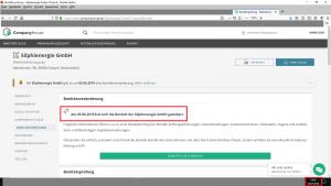"Bildzitat Screenshot (bearbeitet) CompanyHouse Firmenrecherche zu ""Silphienergie GmbH"" am 25.07.2019"