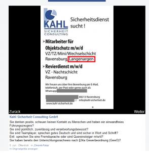Bildzitat Screenshot (bearbeitet und teilweise anonymisiert) vom Facebook-Account Kahl Sicherheit Consulting GmbH: Es verstört der nicht nachvollziehbare Bedarf an Sicherheitsdienstleistungen in der erbsenkleinen Bodenseegemeinde Langenargen