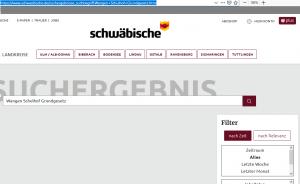 """Ausschnitt aus Bildzitat Screenshot (bearbeitet) der Recherche bei SZ online mit den Suchbegriffen """"Wangen Schulhof Grundgesetz"""". Keine Treffer!"""