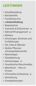 """Ausschnitt aus Bildzitat Screenshot der Webseite Maschinenring Tettnang - das Dienstleistungsangebot. Obwohl die Vermittlung von Saisonarbeitskräften nach eigenen Angaben des """"Unternehmens"""" (?) den drittstärksten Geschäftsbereich ausmacht, wird dieses Angebot auf der Unternehmensseite nicht erwähnt."""