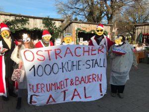 Eine pfiffige VErbraucherinformationsaktion der Ravensburger Initiative gegen den 1.000-Kühe-Stall wurde vom Handels- und Gewerbeverein Ostrach e. V. untersagt. Die Aktivisten hatten kleine Tütchen mit Milchpulver zuzüglich Informationstexten zu dem damit verbundenen Subventionswahnsinn verteilt. Foto: Ravensburg Initiative gegen den geplanten 1.000-Kühe-Stall in Ostrach
