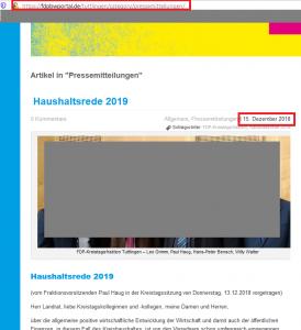 """Diese Partei will Zukunft gestalten? Wie denn? Informationen jedenfalls stellt die FDP Tuttlingen nicht zur Verfügung. Die Homepage ist komplett veraltet und wird offensichtlich nicht mehr gepflegt. Der aktuellste Eintrag in der Rubrik """"Pressemitdteilungen"""" stammt aus Dezember 2018! Ausschnitt aus Bildzitat Screenshot FDP Kreis Tuttlingen am 24.01.2020. Das Foto wurde zur Wahrung der Bildrechte unkenntlich gemacht."""