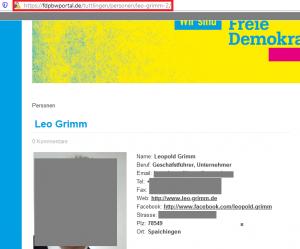 Ausschnitt aus Bildzitat Screenshot FDP Kreisverband Tuttlingen am 24.01.2020: Nahezu alle dort stehenden Angaben zu Leopold Grimm sind falsch oder führen ins Leere. Nicht sehr vertrauenswürdig?
