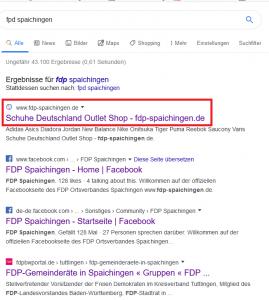 """Ausschnitt aus Bildzitat Screenshot Google-Suche auf den Begriff """"FDP Spaichingen"""""""