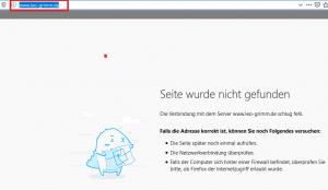Ausschnitt aus Bildzitat Screenshot vom 24.01.2020 bei dem Versuch, dem Link auf die Homepage des FDP-Politikers Leopold Grimm zu folgen, wie sie die Webseite der FDP Kreisverband Tuttlingen verkündet.