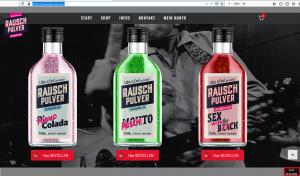 Ausschnitt aus Bildzitat Screenshot Rauschpulver.com - das Getränkeangebot, bei dem insbesondere die Etiketten bestehen!