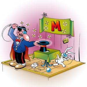 """Manchmal geht es mit dem SimsalaBüM eben auch mächtig in die ohnehin viel zu dicke Hose. Diese Karikatur bezieht sich - am rot leuchtenden """"M"""" in der Kulisse erkennbar - ganz speziell auf den Mengener BüM Stefan Bubeck, der sich einen Shitstorm à la carte an die Backe gezaubert hat. Comic: Stefan Bayer / pixelio.de"""