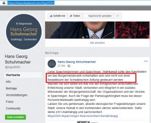 Ausschnitt aus Bildzitat Screenshot Facebook Hans Georg Schuhmacher am 18.02.2020: Zur Causa SPD-Veranstaltung auch hier keine Erklärung. Dafür eine neuerliche Attacke auf die Redakteurin der SchwäZ.