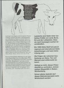 Beispielseite aus der genannten Broschüre: Eiin lockeres Seitenlayout, viele Grafiken und eine einfache eingängliche Sprache informieren sachlich über die Infamie des 1.000-Kühe-Stall in Ostrach-Hahnennest.